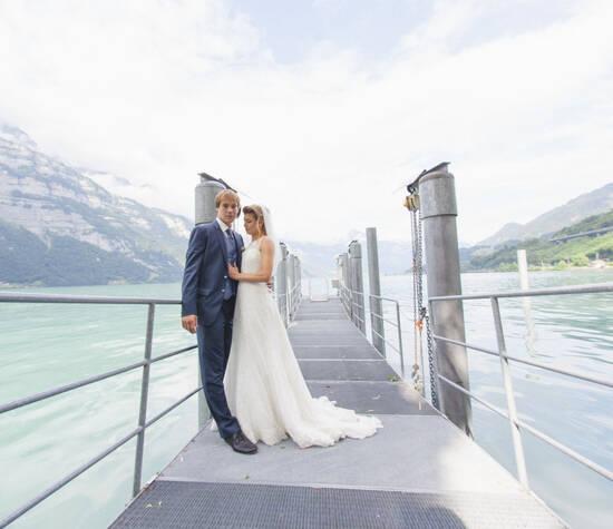 Beispiel: Portrait des Brautpaares, Foto: Jeanine Linder Photography.