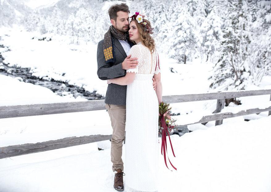 Zauberhafte Winterhochzeits-Inspirationen aus dem verschneiten Kandersteg