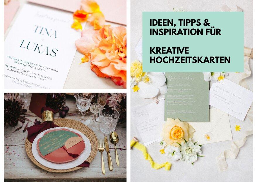 Kreative Hochzeitskarten! Von der Einladungs- bis hin zur Menükarte