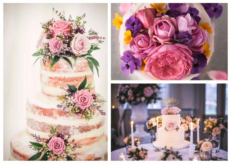 Frischblumen auf der Hochzeitstorte - ja oder nein?