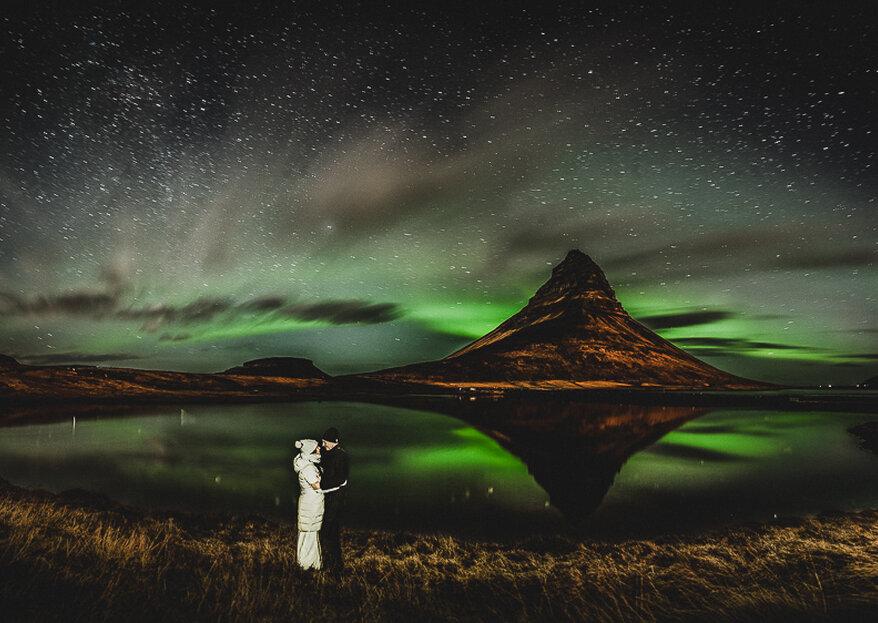 Intime Winter-Hochzeit auf Island - Magische Nordlichter inklusive!