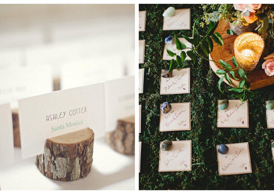 Platzkarten für deine Hochzeit aus den verschiedensten Materialien.