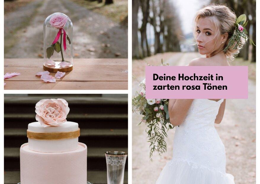 Diese Hochzeitsinspirationen in zartem Rosa, Weiss und Gold werden Sie verzaubern