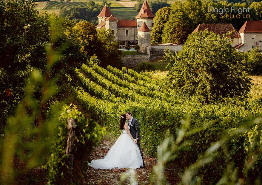 Organisieren Sie Ihre Hochzeit in einem zauberhaften Rahmen im Chateau de Chapeau Cornu!